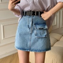 skirt Summer 2021 S,M,L,XL blue Short skirt commute High waist A-line skirt Solid color Type A 18-24 years old X4-6 31% (inclusive) - 50% (inclusive) Denim other Korean version