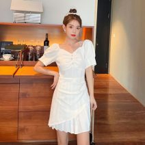 Dress Summer 2021 White, black S,M,L,XL Short skirt singleton  Short sleeve commute square neck High waist Solid color Socket A-line skirt puff sleeve Others 18-24 years old Type A Korean version X4 - nine 31% (inclusive) - 50% (inclusive) other polyester fiber