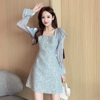 Dress Autumn 2020 grey S,M,L,XL Mid length dress singleton  Long sleeves commute square neck Solid color Three buttons A-line skirt Lotus leaf sleeve Others 18-24 years old Type A Korean version Ruffles, stitching, buttons L9-5 31% (inclusive) - 50% (inclusive) other polyester fiber