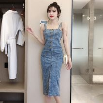 Dress Spring 2021 blue S,M,L Mid length dress singleton  Sleeveless commute other High waist Solid color Single breasted One pace skirt other camisole 18-24 years old Type H Korean version Open back, stitching, buttons T1-20 31% (inclusive) - 50% (inclusive) Denim polyester fiber