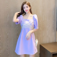 Dress Summer 2020 violet S,M,L,XL Short skirt singleton  Short sleeve commute square neck High waist Solid color Socket A-line skirt puff sleeve 18-24 years old Type A Korean version L4-28