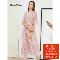 Dress Summer 2020 Pink flower 155/80A/S 160/84A/M 165/88A/L 170/92A/XL Mid length dress singleton  Long sleeves commute V-neck middle-waisted Decor Socket 25-29 years old Beloan printing BOEXL035. More than 95% polyester fiber Polyester 100% Pure e-commerce (online only)