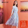 Dress Summer of 2018 S M L XL Mid length dress singleton  elbow sleeve commute Crew neck Elastic waist Decor other Big swing routine Others 25-29 years old Type A Beloan lady Bandage printing More than 95% Chiffon polyester fiber Polyester 100% Pure e-commerce (online only)