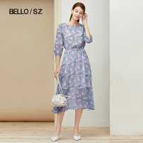 Dress Summer 2021 Blue flower 155/80A/S 160/84A/M 165/88A/L longuette singleton  Long sleeves commute Crew neck High waist Decor Socket A-line skirt 30-34 years old Type X Beloan lady Pleating used printing BPEXL249 More than 95% polyester fiber Polyester 100% Pure e-commerce (online only)