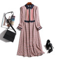 Dress Summer 2021 Decor L XL 2XL 3XL 4XL Mid length dress Long sleeves commute Polo collar middle-waisted lattice Socket Big swing routine Others 30-34 years old Type X Touch miss Korean version Splicing T21032303MY More than 95% Chiffon polyester fiber