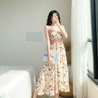 Dress Summer 2021 Picture color S M L XL longuette singleton  Sleeveless commute V-neck High waist Decor Socket A-line skirt routine camisole 18-24 years old Type A Yushangmei Korean version printing YSM5013 More than 95% Chiffon polyester fiber Polyester 100% Pure e-commerce (online only)