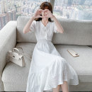 Women's large Summer 2021 white S M L XL Dress singleton  commute Socket Short sleeve Solid color Korean version V-neck polyester fiber routine B4608 Yushangmei 25-29 years old Button longuette Other 100% Pure e-commerce (online only)