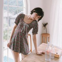 one piece  W M,L,XL Decor Skirt one piece With chest pad without steel support female Short sleeve