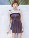 one piece  90'S UP M,L,XL Navy Blue Skirt one piece With chest pad without steel support other