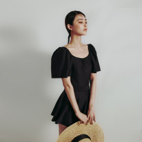 one piece  Summer 12 M,L,XL black Skirt one piece With chest pad without steel support female Short sleeve Casual swimsuit