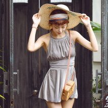 one piece  W M,L,XL grey Skirt one piece With chest pad without steel support other female