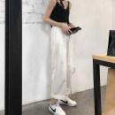 Casual pants White, black, light khaki XS,S,M,L,XL,2XL Summer of 2019 Ninth pants Straight pants High waist commute Thin money Korean version pocket