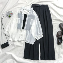 Fashion suit Summer 2020 One size s ml XL White sunscreen Shirt Purple sunscreen shirt blue sunscreen shirt black trousers grey trousers black sling purple sling green sling pink sling white sling apricot sling 18-25 years old Coshehkg / Qiao line chen B017 A5311 A1440 20200404 Other 100%