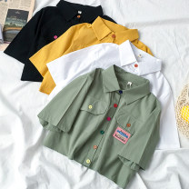 shirt Black green white yellow Average size Summer 2020 polyester fiber 96% and above Short sleeve Sweet Short style (40cm < length ≤ 50cm) Polo collar Single row multi button shirt sleeve Solid color 18-24 years old Straight cylinder Coshehkg / Qiao line HA1091-0310 Button Polyester 100% college