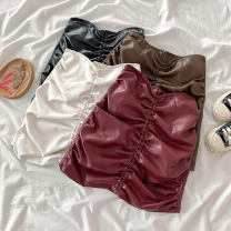 skirt Spring 2021 S M L XL White black red Khaki Short skirt Versatile High waist A-line skirt Solid color Type A 18-24 years old More than 95% Coshehkg / Qiao line other fold PU Exclusive payment of tmall