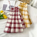 skirt Spring 2021 S M L XL Yellow red Short skirt commute High waist Pleated skirt lattice Type A 18-24 years old QING-1.18-012 More than 95% other Coshehkg / Qiao line other Zipper patch Korean version Other 100% Exclusive payment of tmall