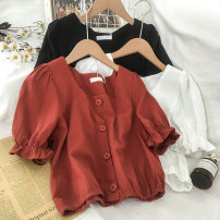 shirt Brick red black white Average size Summer 2020 polyester fiber 96% and above Short sleeve commute Short style (40cm < length ≤ 50cm) square neck Single row multi button puff sleeve Solid color 18-24 years old Self cultivation Coshehkg / Qiao line Korean version Button man-made fiber