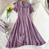 Dress Spring 2021 violet S M L XL longuette singleton  Short sleeve commute Doll Collar Elastic waist Solid color Single breasted Ruffle Skirt Lotus leaf sleeve Others 18-24 years old Type A Coshehkg / Qiao line Korean version Stitching buttons More than 95% other other Other 100%