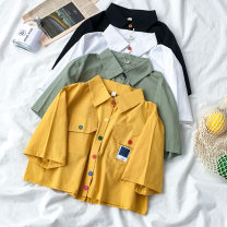 shirt White green yellow black Average size Summer 2020 polyester fiber 96% and above Short sleeve Sweet Short style (40cm < length ≤ 50cm) Polo collar Single row multi button shirt sleeve Solid color 18-24 years old Straight cylinder Coshehkg / Qiao line HA1092-0310 Button Polyester 100% college