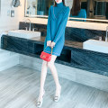 Dress Winter 2020 Blue collar red collar white collar S M L XL Short skirt singleton  Long sleeves commute High collar Loose waist Solid color Socket other routine 25-29 years old Type H Yixianger Korean version Splicing Y9716 More than 95% knitting other Other 100% Pure e-commerce (online only)