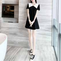 Dress Summer 2020 black XXS XS S M L XL Short skirt singleton  Short sleeve commute Doll Collar Loose waist Solid color Socket A-line skirt routine 25-29 years old Type A Yixianger Korean version Splicing More than 95% other other Other 100% Pure e-commerce (online only)