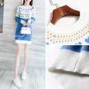Dress Winter of 2019 blue S M L XL Short skirt singleton  Long sleeves commute Crew neck Loose waist stripe Socket other 25-29 years old Type H Yixianger Korean version More than 95% knitting other Other 100% Pure e-commerce (online only)