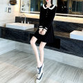 Dress Spring 2021 Black red S M L XL Short skirt singleton  Long sleeves commute Doll Collar High waist Solid color Socket A-line skirt Petal sleeve 25-29 years old Type A Yixianger Korean version Splicing W6580 More than 95% knitting other Other 100% Pure e-commerce (online only)