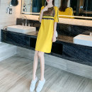 Dress Summer 2020 yellow S M L XL XXS XS Middle-skirt Short sleeve commute Crew neck Loose waist stripe Socket other routine 25-29 years old Type H Yixianger Korean version Three dimensional decorative sequins W6705 More than 95% other other Other 100% Pure e-commerce (online only)