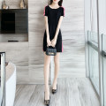 Dress Summer 2020 black S M L XL Short skirt singleton  Short sleeve commute Crew neck Elastic waist Solid color Socket other routine Others 25-29 years old Type H Yixianger Korean version Splicing W20109 More than 95% other other Other 100%