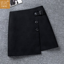 skirt Spring 2021 S/26 M/27 L/28 XL/29 XXL/30 black Short skirt commute High waist Irregular Solid color Type A 8801-1 51% (inclusive) - 70% (inclusive) other By name polyester fiber Asymmetric button Korean version Exclusive payment of tmall 301g / m ^ 2 (including) - 350g / m ^ 2 (including)