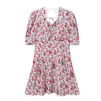 Dress Summer 2021 Color pattern S,M,L,XL Mid length dress singleton  Short sleeve commute V-neck routine 18-24 years old Peacebird 31% (inclusive) - 50% (inclusive)