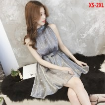 Dress Summer of 2018 XS,S,M,L,XL,2XL Mid length dress singleton  Sleeveless commute High waist Solid color Socket A-line skirt routine Hanging neck style Type A Other / other Korean version Bow tie