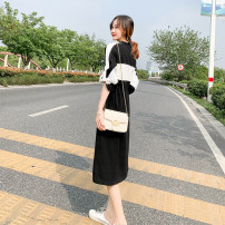 Dress Summer 2021 Black + white S,M,L,XL longuette singleton  elbow sleeve commute other Elastic waist Solid color Socket A-line skirt Type A Korean version Splicing
