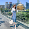 Dress Spring 2021 white S,M,L,XL,2XL longuette Fake two pieces Long sleeves commute Polo collar middle-waisted Solid color Socket One pace skirt puff sleeve Others Type H Korean version