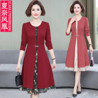 Middle aged and old women's wear Spring 2021 Red pink black XL 2XL 3XL 4XL 5XL fashion Dress easy Fake two pieces Flower and bird pattern 40-49 years old Socket moderate Crew neck Medium length routine FH-3525 Xianai Phoenix other Other 100% 96% and above Pure e-commerce (online only) other