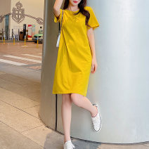Dress Summer 2021 Yellow green black M L XL XXL 3XL 4XL longuette singleton  Short sleeve commute Crew neck Loose waist Solid color Socket A-line skirt routine 18-24 years old Type H AXm Splicing 225PO88 More than 95% cotton Cotton 100% Pure e-commerce (online only)