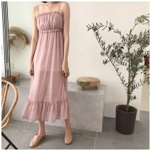 Dress Summer 2021 Average size Mid length dress singleton  Sleeveless commute One word collar High waist Solid color Socket Ruffle Skirt camisole 18-24 years old Retro fungus More than 95% Chiffon polyester fiber