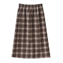 skirt Spring 2021 Average size Khaki grid, black grid, green line, black grid, orange line Mid length dress Versatile High waist A-line skirt lattice Type A 18-24 years old