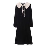 Dress Spring 2021 Versatile black Average size Mid length dress singleton  Long sleeves commute Elastic waist Single breasted A-line skirt 18-24 years old Type A Retro Lace up, button