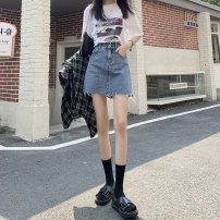 skirt Summer 2021 XS S M L XL Retro Blue (unlined) Retro Blue (lined) Short skirt Versatile High waist A-line skirt Solid color Type A 18-24 years old q320 More than 95% Denim Emichi cotton Button Cotton 98% other 2% Pure e-commerce (online only)