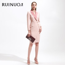 Dress Autumn 2020 Dress (pink) dress (white) dress (black) S M L XL XXL XXXL Mid length dress singleton  Long sleeves commute tailored collar Solid color One pace skirt Others 25-29 years old Reno Ol style R-L20215PK 91% (inclusive) - 95% (inclusive) polyester fiber Pure e-commerce (online only)