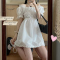 Dress Summer 2021 Black, white Average size Short skirt singleton  Short sleeve commute square neck High waist Solid color Socket A-line skirt puff sleeve Others 18-24 years old Type A Other / other Korean version Lace up, solid 51% (inclusive) - 70% (inclusive) other other