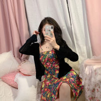 Dress Summer 2021 Suspender skirt, knitted cardigan S. M, l, average size Short skirt singleton  Sleeveless commute One word collar High waist Decor Socket A-line skirt other camisole 18-24 years old Type A Other / other Korean version Frenulum 51% (inclusive) - 70% (inclusive) other other