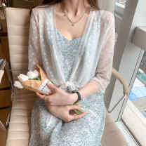 Lace / Chiffon Summer 2021 elbow sleeve commute Cardigan singleton  easy have cash less than that is registered in the accounts V-neck Solid color routine 18-24 years old Meng Li Ke MLK6017 Lace Korean version Other 100% Pure e-commerce (online sales only) White light blue S M L XL