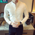 shirt Youth fashion Sleeve Baron M L XL 3XL XXL 4XL White grey Army Green Black routine stand collar Long sleeves Self cultivation Other leisure autumn BCGFC209 youth Polyester 95% polyurethane elastic fiber (spandex) 5% Chinese style 2016 Solid color Autumn 2016 No iron treatment