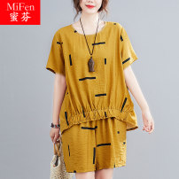 Women's large Summer 2021 Red yellow L XL 2XL T-shirt Two piece set commute easy thin Socket Short sleeve lattice Crew neck routine cotton Three dimensional cutting routine MF9461 Mifen pocket Polyester 20% others 80% Pure e-commerce (online only) shorts