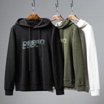 Sweater Youth fashion Huasachi 21-0047 black, 21-0047 off white, 21-0047 green 165/80A,170,175,180,185,190 Solid color Socket routine Hood autumn Slim fit leisure time youth tide routine cotton printing