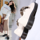 Low top shoes 35 36 37 38 39 40 Da yuanni Black Beige black Plush Beige Plush Round head PU Flat bottom Low heel (1-3cm) Deep mouth PU Autumn of 2019 Trochanter Britain Adhesive shoes Youth (18-40 years old) Solid color PVC Single shoes Ribbon bow Roman style leisure time