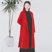 woolen coat Winter of 2019 S M L XL XXL High grade rice cherry red wool 91% (including) - 95% (excluding) Medium length Long sleeves commute Single breasted routine other Solid color Straight cylinder Simplicity J28576 Taiwan embroidery art space 30-34 years old Pocket slit, snap Wool 94% Alpaca 6%