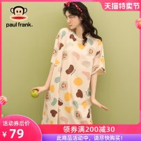 Nightdress Poetry of Schiff Pfjoa202r32w join the club to receive a coupon of 25 yuan, collect and purchase additional coupons, and give priority to delivery 160(M) 165(L) 170(XL) 175(XXL) Cartoon Short sleeve Leisure home Short skirt summer Cartoon animation youth Crew neck cotton printing